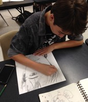 Art students sketch amazing self portraits.