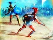 Ajax battles Hector, proving strength.