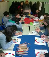 "Students working for ""logo"" activity"