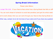 Spring Break Information