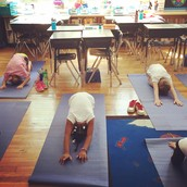 Focusing on our breathing in Child's Pose