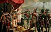 Montezuma II and Hernan Cortes