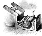 Drawing of a cotton gin