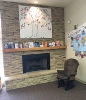 Don't we all need this fireplace in our school libraries?
