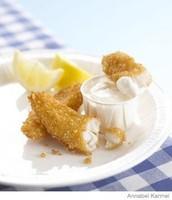 """Krispie Fish """"Fingers"""" with Lemon Mayo Dip"""