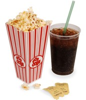 Popcorn and soft drink.