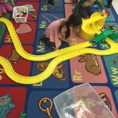 Group building is great for language development, turn taking, and problem solving!
