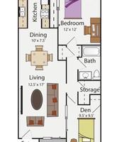 2 BR 1 Bath Floor Plan