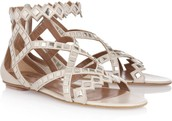 Criss-Cross Sandals with Silver Gems