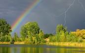 Rainbow and lightning
