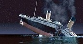 The sinking Titanic