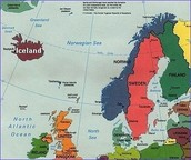 Map of Iceland and Western Europe