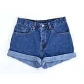 pantalones cortos de talle alto en azul