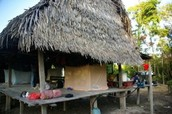 Open home on stilts with palm-thatch roof