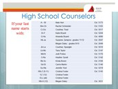 Counselor Contact Numbers