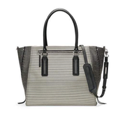 Madison Tech Bag - Black and Creme Stripe