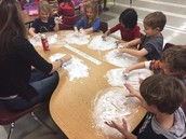 Writing sight words in shaving cream