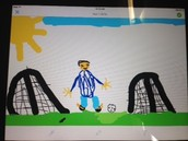 Millie's detailed picture of Ben kicking a goal!