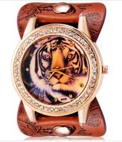 Zenski Sat Sa Printom Tigra i Kristalima
