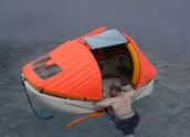 Climbing into raft
