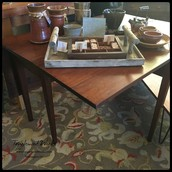 $450 - Antique Drop Leaf Table with Wooden Hinges