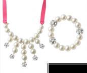 Olive Pearl Bib Necklace & Bracelet Set
