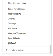 "Click on the word ""Arial"" to find the list of fonts."