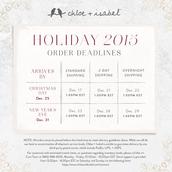 Holiday Order Deadlines