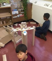 A battle scene in the block area inspired by a student reading about George Washington.