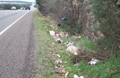 litter on a highway