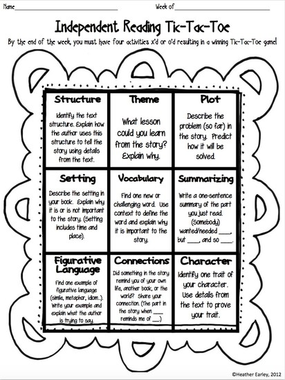 Choice Boards, Menus, & Tic-Tac-Toe