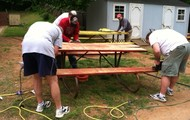 Sanding those Tables!