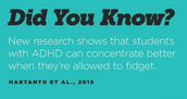 Edutopia Article: 17 Ways to Help students with ADHD Concentrate