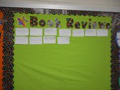 Book Reviews on display in Brittany Hudnall's third grade room