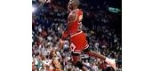 Michael Jordan dunking.