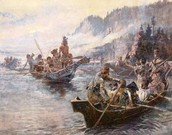 Lewis and Clark traveling down river