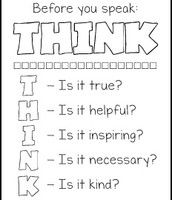 Free THINK before you Speak Pritables/Color Sheets