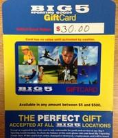 $30 Big 5 Gift Card