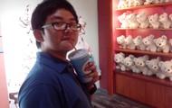 Jason taking a sip of soda...