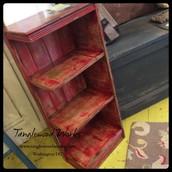 Distressed Red Corner Bookcase ~ $100