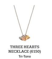 Three Hearts Necklace in Tri-Tone