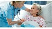 Nurses helping people.