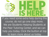 Don't forget the Peer Tutoring Center!