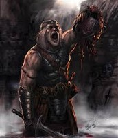 Beowulf victory with the head of Grendel