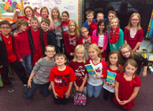 Students wearing red in honor of Right to Read Week Day...I've been Read to!:) #Readingrocks #Frankpride