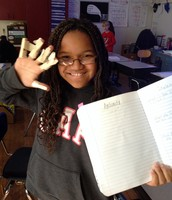 Students fastened sticks to their phalanges.
