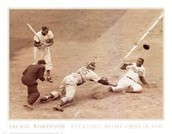 Robinson slides into home to score for the Brooklyn Dodgers