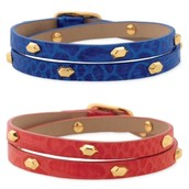 HUDSON LEATHER WRAP -- BLUE AND RED