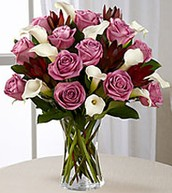 Purple Rose Arrangement with Calla Lillies