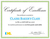 IXL: We Have Achieved Excellence with 100 First-Grade Math Skills!
